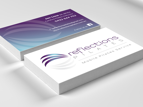 Sunshine coast business card design reflections pilates business cards reheart Image collections